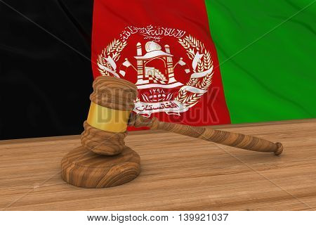 Afghan Law Concept - Flag Of Afghanistan Behind Judge's Gavel 3D Illustration