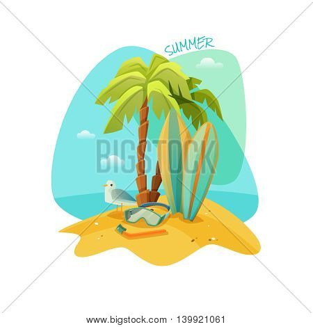 Colorful cartoon poster for the beach recreation. The best summer. Vector illustration