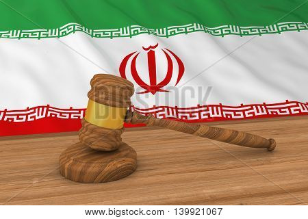 Iranian Law Concept - Flag Of Iran Behind Judge's Gavel 3D Illustration
