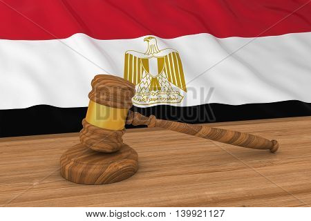 Egyptian Law Concept - Flag Of Egypt Behind Judge's Gavel 3D Illustration