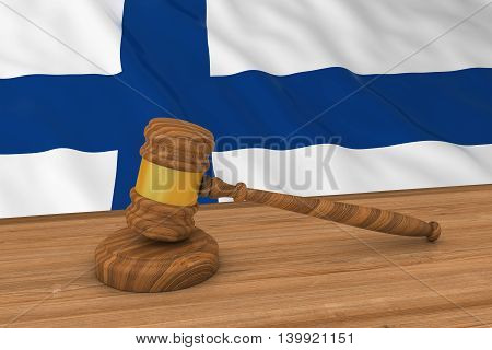 Finnish Law Concept - Flag Of Finland Behind Judge's Gavel 3D Illustration