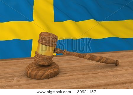 Swedish Law Concept - Flag Of Sweden Behind Judge's Gavel 3D Illustration