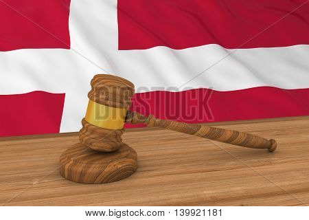 Danish Law Concept - Flag Of Denmark Behind Judge's Gavel 3D Illustration
