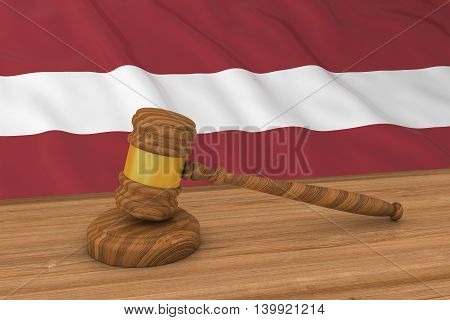 Latvian Law Concept - Flag Of Latvia Behind Judge's Gavel 3D Illustration