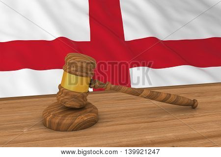 English Law Concept - Flag Of England Behind Judge's Gavel 3D Illustration