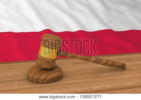 Polish Law Concept - Flag Of Poland Behind Judge's Gavel 3D Illustration
