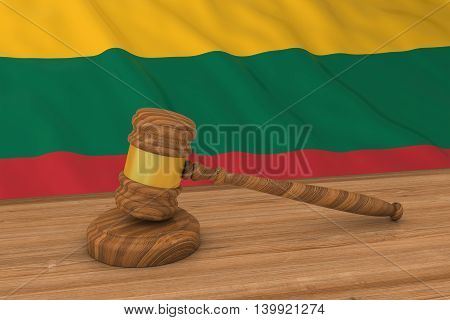 Lithuanian Law Concept - Flag Of Lithuania Behind Judge's Gavel 3D Illustration