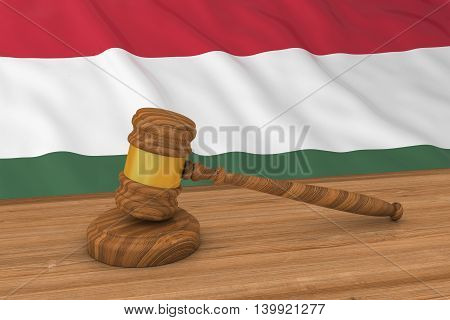 Hungarian Law Concept - Flag Of Hungary Behind Judge's Gavel 3D Illustration
