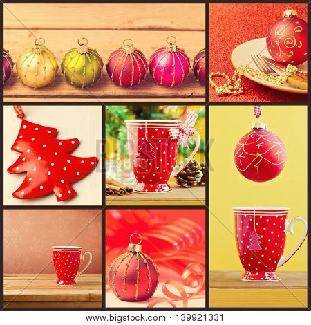 Collage of Christmas decorations; cup and ornaments