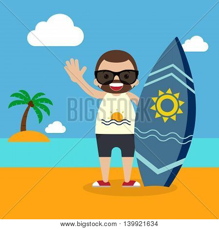 Surfer with surfboard on summer vacation flat design vector illustration