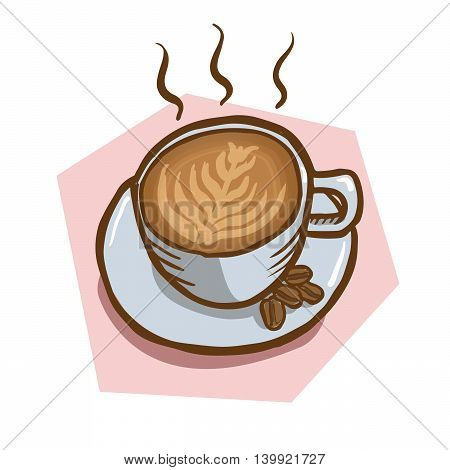 Vector hand drawn illustration of hot cup of coffee with beans on the side. Coffee art is visible in the cup. Pink background. Perfect to be used for logo for cafe, company, restaurants, etc.