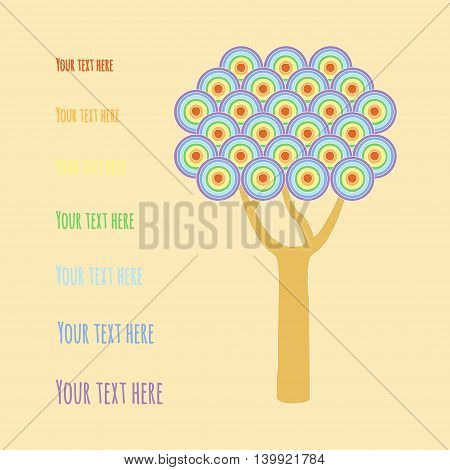Tree with rainbow circles. Vector illustration postcard template on season greeting
