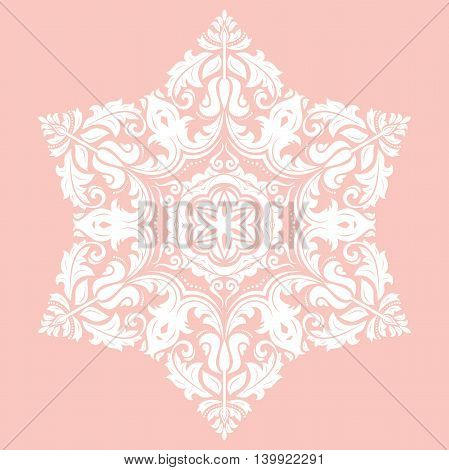 Elegant white ornament in the style of barogue. Abstract traditional pattern with oriental elements