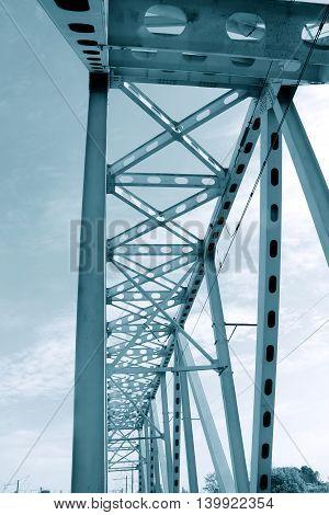 Railway metal bridge perspective view. Monochrome image