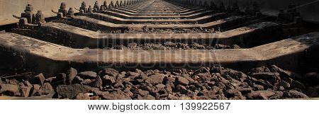 Railway track. Perspective view. Close up image