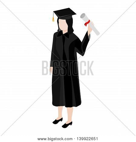 The graduate of an isometric view. In her hand a graduate holding a diploma with honors. Student wearing a black mantle.