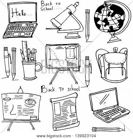 Clasroom supplies doodles collection school vector art