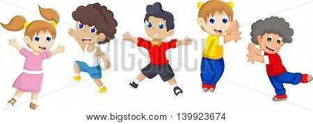 funny cartoon child's jumping for you design