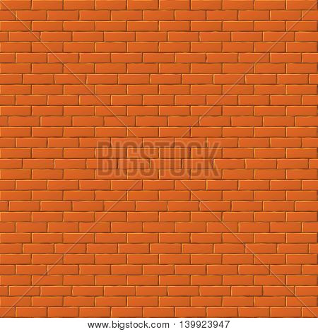 Red brick wall vector seamless background. Texture with brick stone, illustration surface wall with bricks