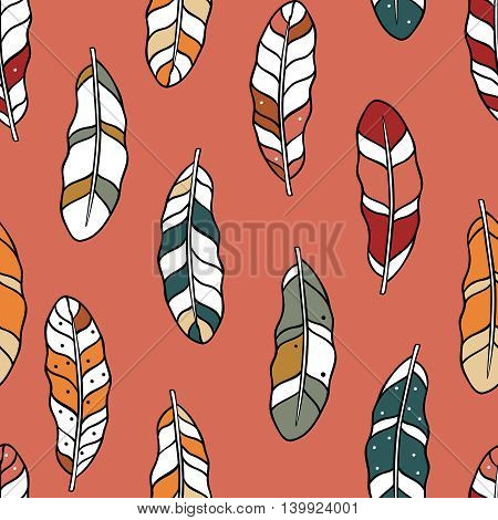 Hand drawn feathers seamless pattern. Vector illustration