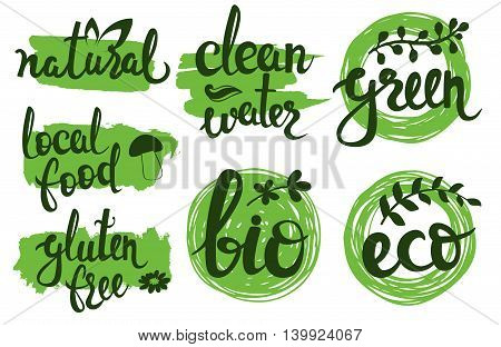 Vector eco friendly natural bio logo set. Green icons collection. Clean water, local food, gluten free. Raw product badges, labels. Lettering illustration for banners, posters, t-shirts, cards
