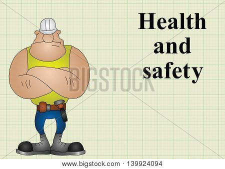 Construction health and safety on graph paper background with copy space for own text