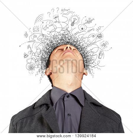 Thinking man with signs and light idea bulb above