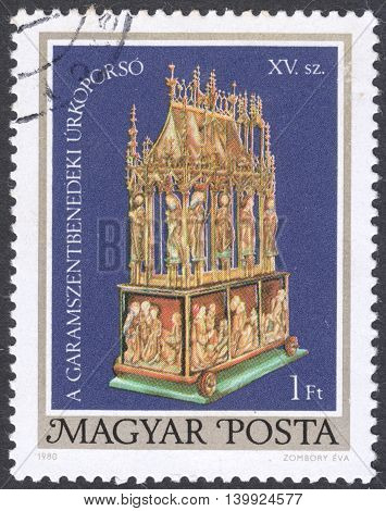 MOSCOW RUSSIA - CIRCA FEBRUARY 2016: a post stamp printed in HUNGARY shows Easter Casket of Garamszentbenedek the series