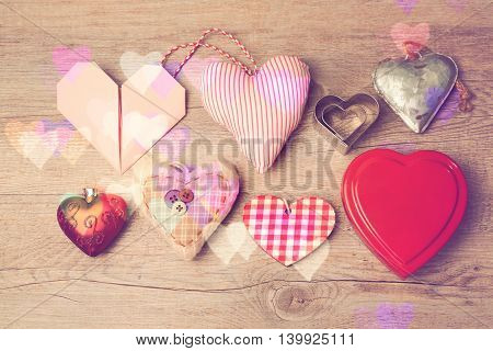 Valentine's day background with heart shapes set