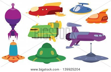 UFO spaceship vector set.