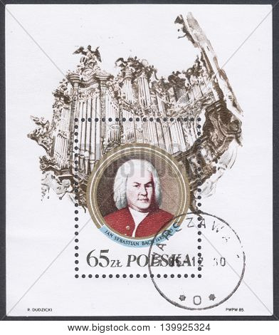MOSCOW RUSSIA - CIRCA FEBRUARY 2016: a post stamp printed in POLAND shows a portrait of Johann Sebastian Bach devoted to The 300th Anniversary of the Birth of Johann Sebastian Bach circa 1985