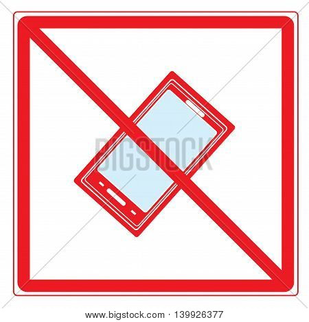 No call Sign in red square. Isolated on white background. No telephone symbol on white mark. No telephone ban sign picture. Red sticker vector illustration. Flat vector image. Vector illustration.