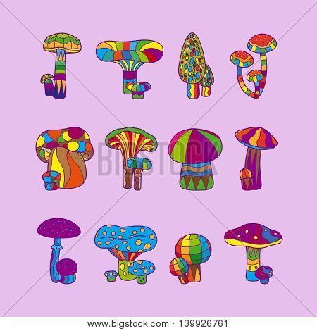 Psychedelic mushrooms or hallucinogenic fungus vector illustration