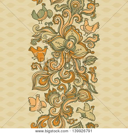 Outline floral seamless border with flowers birds leaves and swirls. Autumn concepts background. It can be used for decorating of invitations greeting cards decoration for bags and clothes.