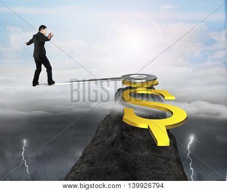 Business Man Balance At Clock Hand Edge On Mountain Peak