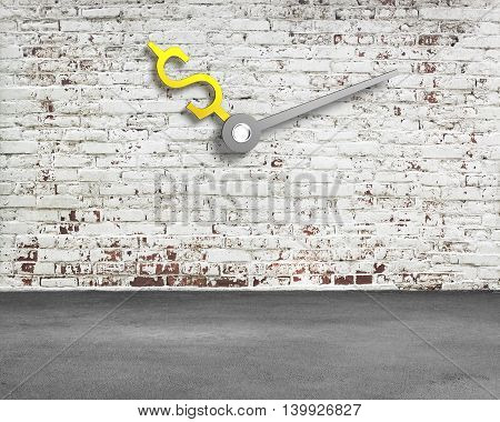 Old Bricks Wall With Money Sign Clock Hands And Concrete Floor