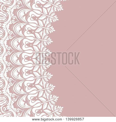 Oriental round frame with arabesques and floral elements. Floral fine border. Greeting card with place for text