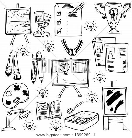 Education suplies doodles school collection vecor art