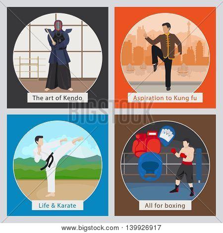 MMA or mixed martial arts vector illustration