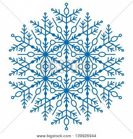 Round blue snowflake. Abstract winter fine ornament