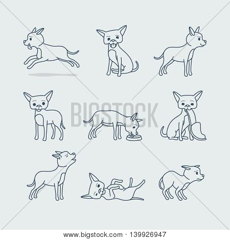 Cute dog doodle line icons. Little dog in different poses vector illustration