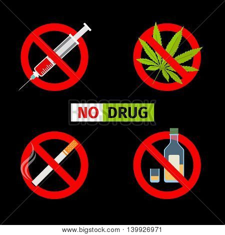 Vector forbidding signs. No Drugs and No Cannabis, No Smoking and No Alcohol