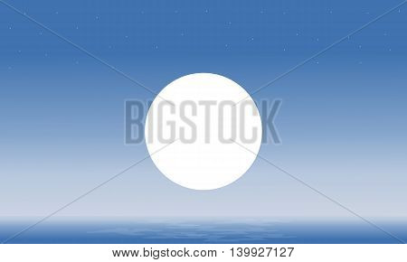Seascape and moon silhouettes scenery vector illustration