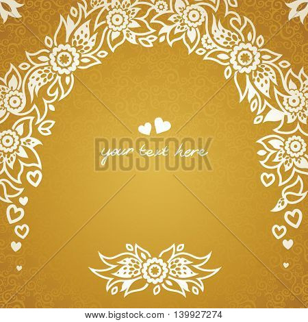Vintage greeting cards with floral motifs in east style. Light gold background in persian style. Template design for wedding invitation. You can place your text in the empty frame. Save the date.
