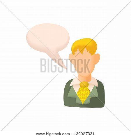 Man and bubble speech icon in cartoon style isolated on white background. People symbol
