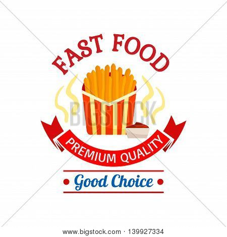 Fast food icon design. French fries in red striped paper box. Label graphic illustration. Element for restaurant, eatery and menu. Advertising sticker for door sign, poster, leaflet, flyer