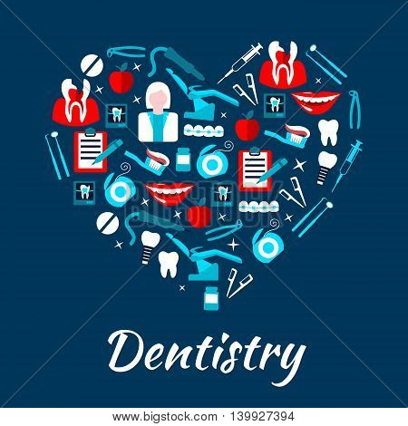 Dentistry banner with icons. Stomatology dental care symbols. Dentist tools and equipment vector elements. Leaflet, advertisement, heart shape illustration