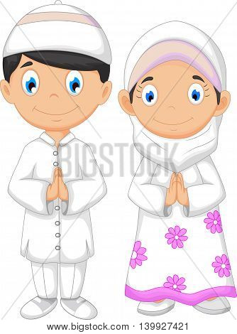 cute two muslims cartoon for you design