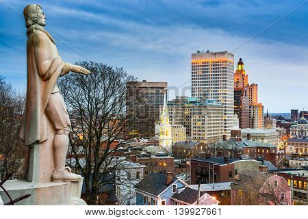 Providence, Rhode Island city skyline from Prospect Terrace Park.
