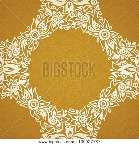 Contrasting seamless pattern with small flowers curls and leaves. White lace ornament on a gold background. It can be used for wallpaper pattern fills web page background surface textures.